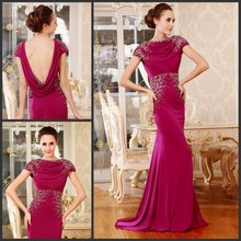 free shipping maxi 2014 Luxury crystal beaded vestidos formal backless coctail dress brides purple long elegant evening dresses