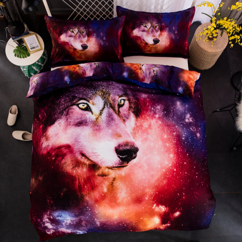 3D Spcae Colorful Wolf Printed Bedding Sets  Duvet Covers Animal 220x240 Single Full Bed Covers 800173D Spcae Colorful Wolf Printed Bedding Sets  Duvet Covers Animal 220x240 Single Full Bed Covers 80017