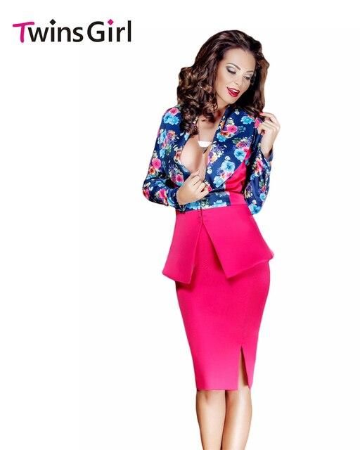 OL Style Women Work Wear Long Sleeves Floral Print Jacket Skirt Set 2016 LC63015 Peplum Skirt Vestido Estampado Saias Femininas