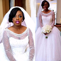 Роскошный Жемчуг Белое Свадебное Платье 2017 Настоящее Африке Невесты На Заказ Тюль Бальное платье Свадебное Платье С Длинными Рукавами Плюс Размер Casamento