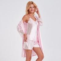 edc305c39 Sexy Women Robe Set Cute Pink Hollow Lace Satin Sleepwear Suit 3 Pcs Vest  Robe Shorts