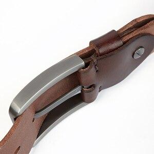 Image 4 - Medyla天然皮革男性ベルト品質素材頑丈なスチールバックル革ベルトのための適切なジーンズカジュアルパンツ