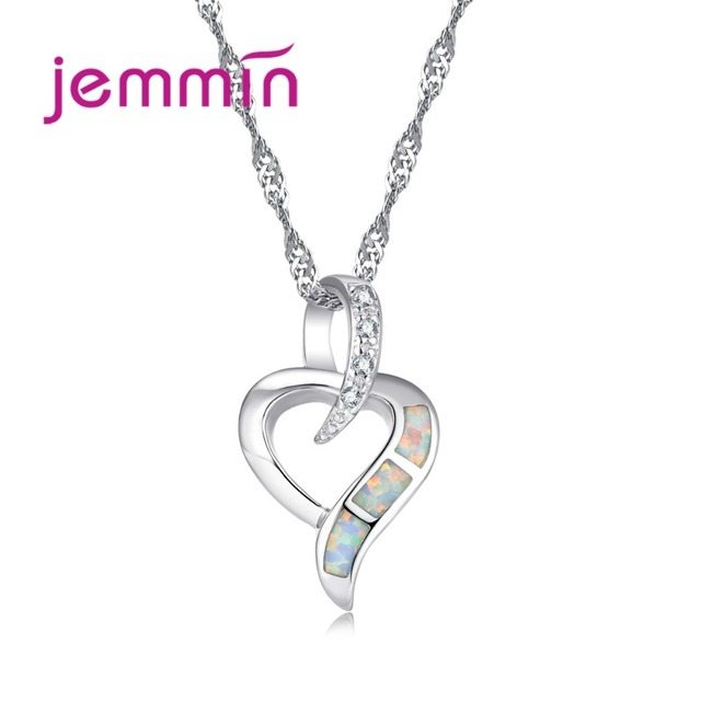 Jemmin Fine Bridal Wedding Heart Pendants Necklaces For Women 925 Sterling Silve
