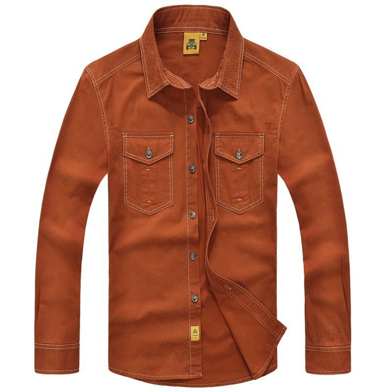 AFS JEEP 2015 Spring Autumn Fashion Men\'s Cotton Dress Shirts Camisa Hombre Plus Size Blouse Vestido Men Clothes Casual 2XL 3XL (19)