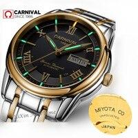 MIYOTA T25 трития световой автоматические механические часы мужчины двойной календарь лучший бренд класса люкс мужские часы водонепроницаемые