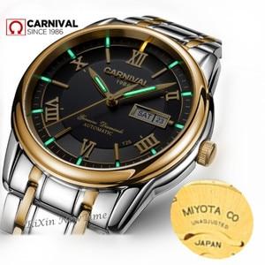 Image 3 - Carnival men watches MIYOTA automatic T25 tritium luminous mechanical watch men TOP brand luxury clocks reloj full steel relogio