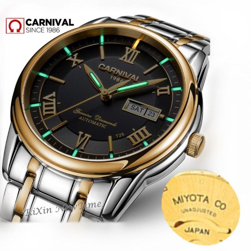 MIYOTA T25 tritium lumineux automatique mécanique montre hommes Double calendrier TOP marque de luxe hommes montres étanche horloges reloj