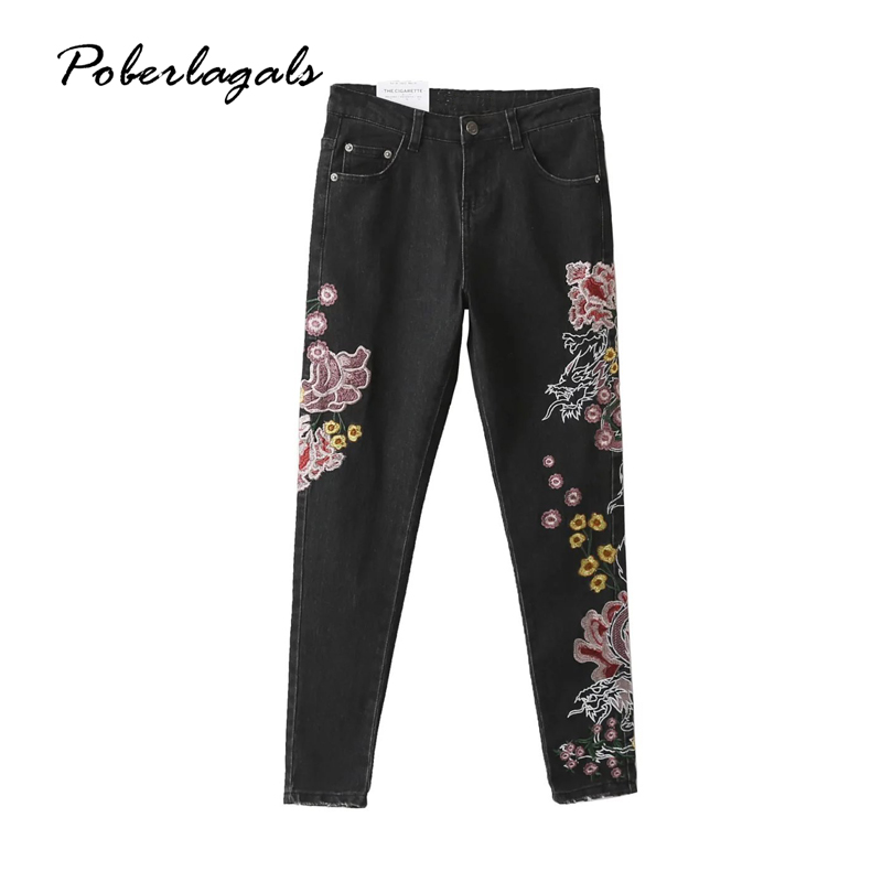 Summer New Flower embroidery jeans female cowboy casual pants capris 2017 autumn winter Pockets  jeans women bottom pencil pants flower embroidery jeans female blue casual pants capris 2017 spring summer pockets straight jeans women bottom a46