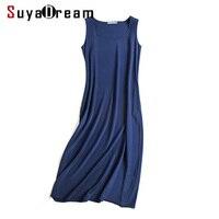 Women Long Dress 19MM 100 Silk Sleeveless Dress Solid Wine Black Pockets Dresses 2017 Summer