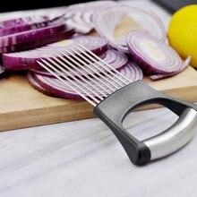 Cortador de cebola de aço inoxidável, ajudante, equipamento de cozinha, fatiador, cortador, garfo, vegetais, batata