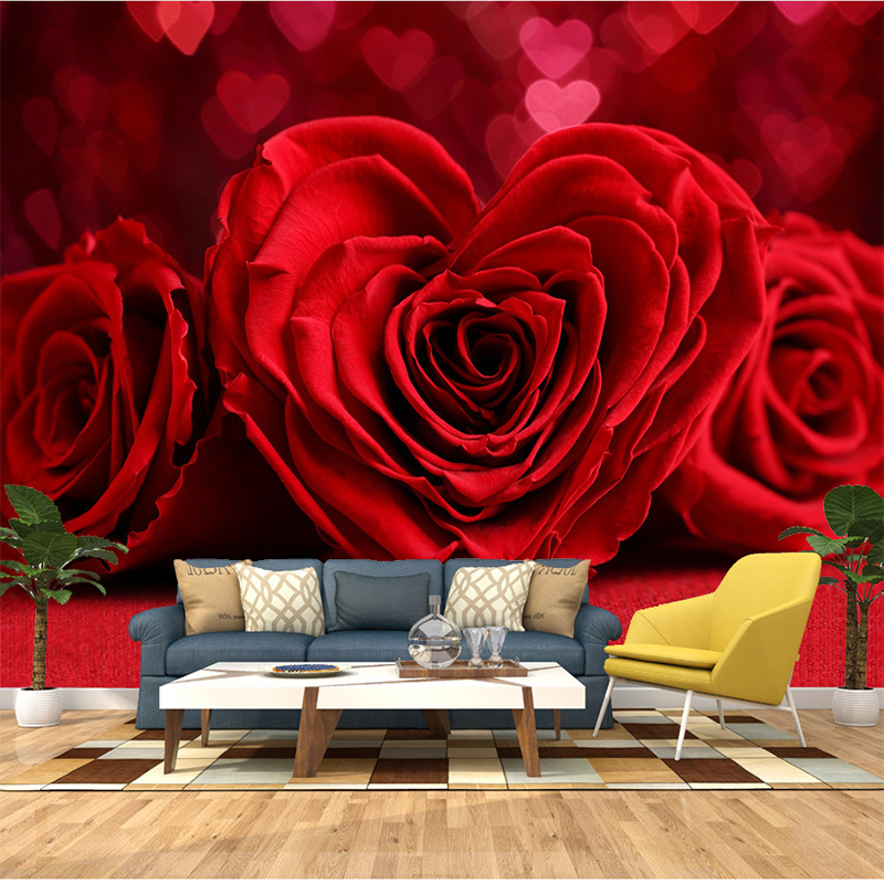 Custom Any Size 3d Wall Painting Wallpaper Murals Romantic Red Rose Bedroom Tv Background Mural Photo Wall Paper For Living Room Wallpapers Aliexpress
