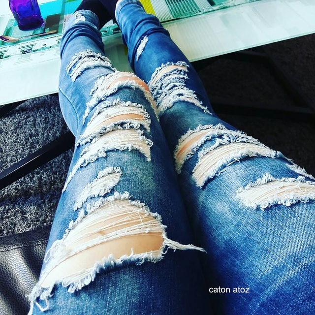Ripped Cotton Denim Jeans