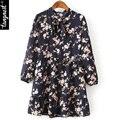 Tangnest mujeres gasa dress 2017 primavera lindo lace up dress estampado floral cuello alto vestido de bola de la manga completa vestidos wql5328