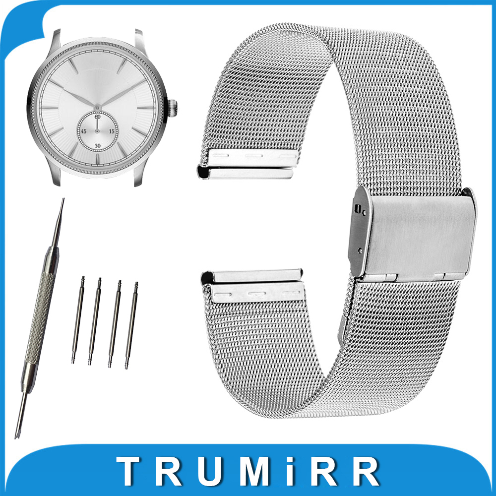 16mm 18mm 20mm 22mm 24mm Milanese Watchband for Armani Watch Band Mesh Stainless Steel Strap Link Wrist Belt Bracelet + Tool цена и фото