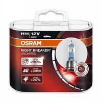OSRAM nuit disjoncteur H11 12V 55W voiture phare ampoule feux de croisement feux de route halogène lampe [110% plus lumineux couleur température 3900 K]
