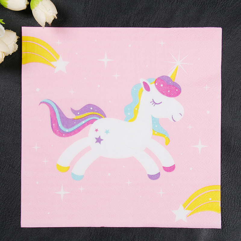 Pink Unicorn Cartoon Paper Napkins Children Birthday Party Tissue Napkins Decoupage Decoration Paper 33cm*33cm 20pcs/pack/lot