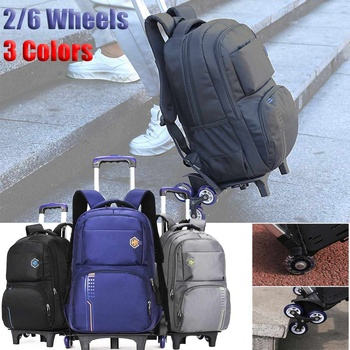 2/6 Wheels Travel Rolling Luggage Bag School Trolley Backpack For Boys Backpack On Wheels Kid's Trolley School wheeled Backpack 1