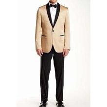 Custom Gold Tuxedo Black Lapel Prom Men Suit Slim Fit Skinny 2 Piece Custom Suits Groom Blazers Masuclino (Jacket+Pants)