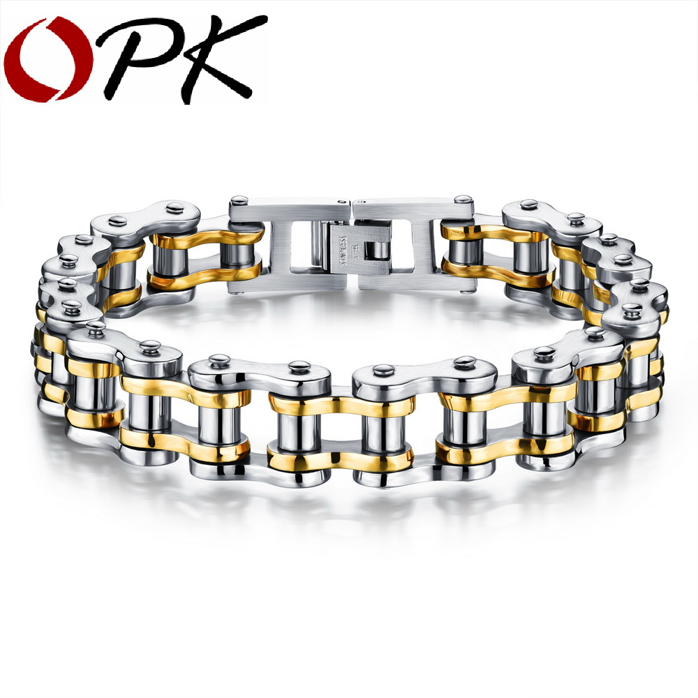 OPK Bike Bicycle Chain Link Bracelet For Men Stainless Steel Chunky & Two Tone 21.5CM Long Male Jewelry Gift Drop Shipping 781