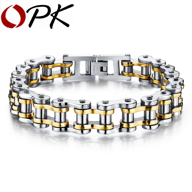 Bike Bicycle Chain Link Bracelet For Men Stainless Steel Chunky & Two Tone 21.5CM Long Male