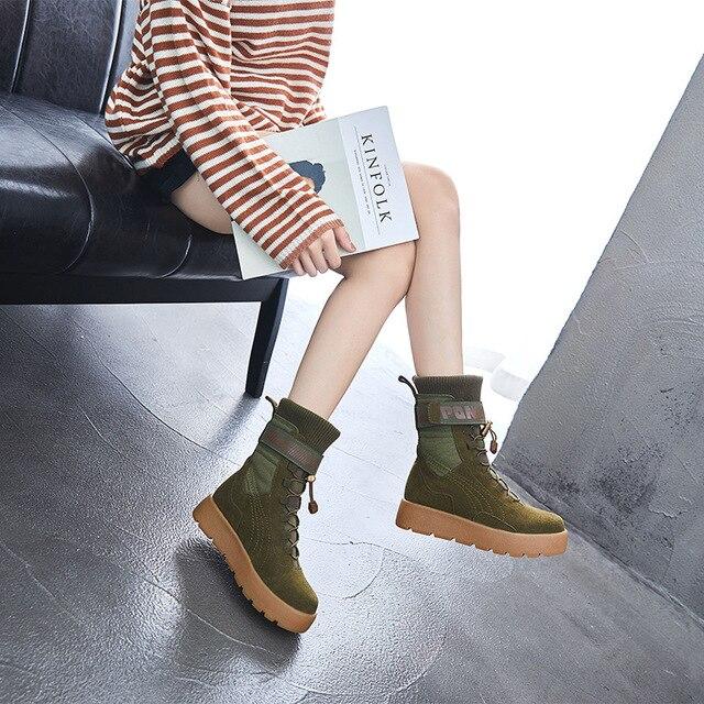 d301ba2b4 Zapatos Botines Moda Nuevas 2018 Nieve 3 1 Cuero Invierno Nuevo Otoño De El  Y Mujeres Planas Las 2 Martin Botas Planos Salvaje 44zXZq
