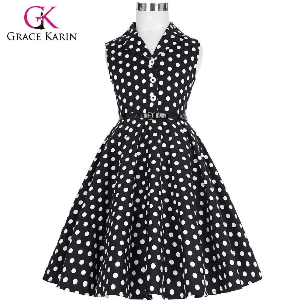 Grace Karin 2018 Flower Girl Dresses for Weddings Party Children Kids Girls First Communion Dress Vintage Polka Dots Dress