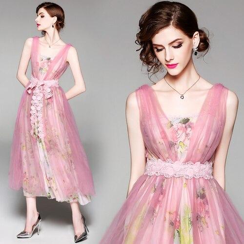 Nouveau imprimé Floral Cami robe femmes rose élégant en mousseline de soie v-cou robe de réservoir en maille robe d'été plage Boho Vestidos deux pièces robe