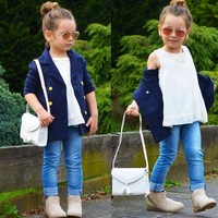 2018 New Fashion Autumn coat College Jackets Girl Kids suit Spring Sleeve wind Dark collar Blue Long