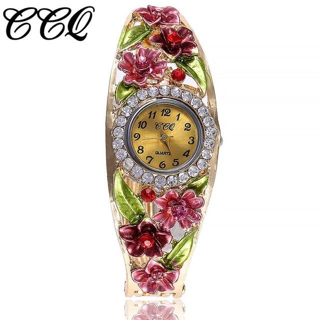 CCQ Brand Women Flowers Bracelet Watch Ladies Rhinestone Watches Female Dress Wr
