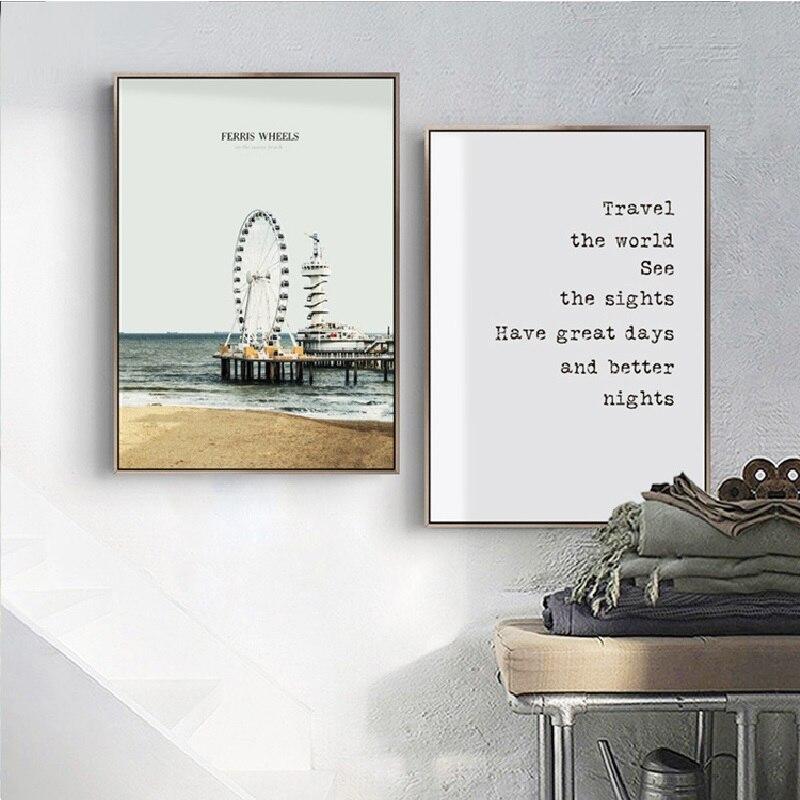 Современная Nordic Firris колеса Coast Rocks деревянный Пирс брюки-карго морской Книги по искусству плакат печати холст картины обои Спальня украшени...