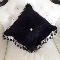 #1146 New black velvet luxus sofakissen mit füllung runde quaste um bett hause auto chair ornament großhandel