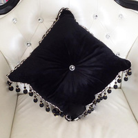 #1146 New black velvet luxury sofa cushion with filling round tassel around bed home car chair ornament wholesale