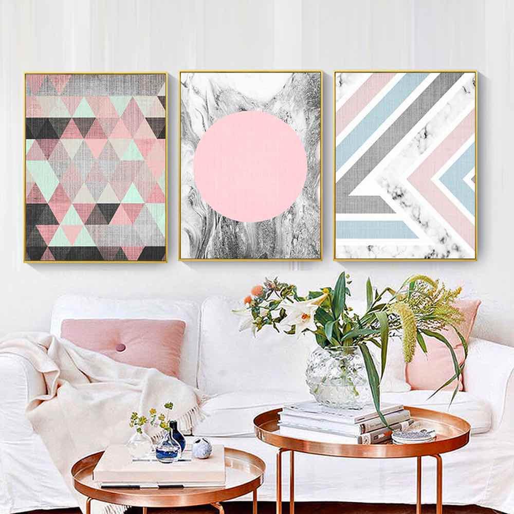 Haochu geometry diamond canvas painting for living room - Simple canvas painting for living room ...