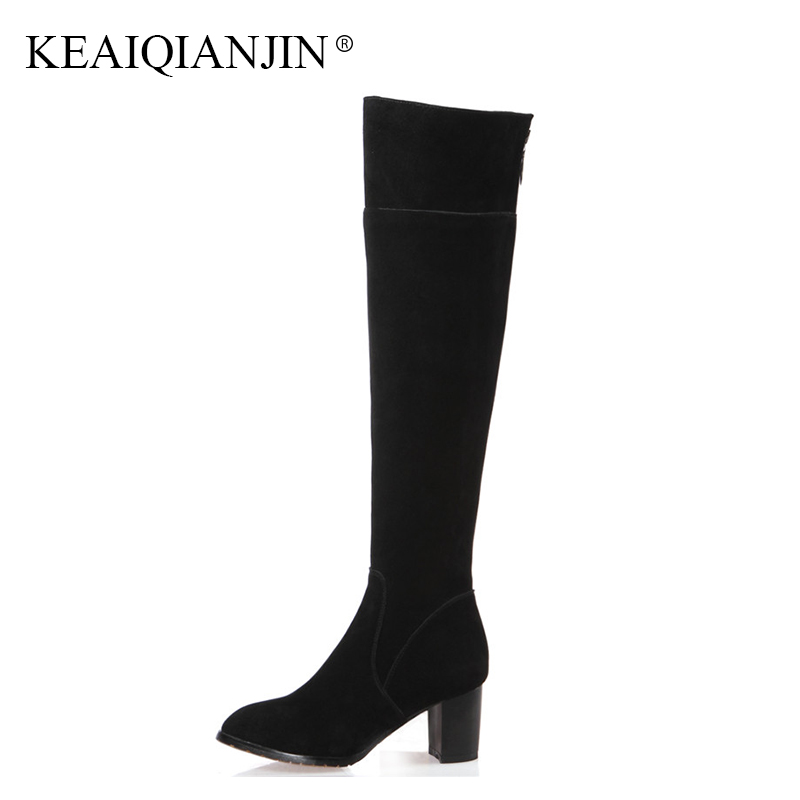 KEAIQIANJIN Woman Metal Decoration Knee High Boots Plus Size 34 - 43 Black Autumn Winter Shoes Genuine Leather Knee High Boots цена