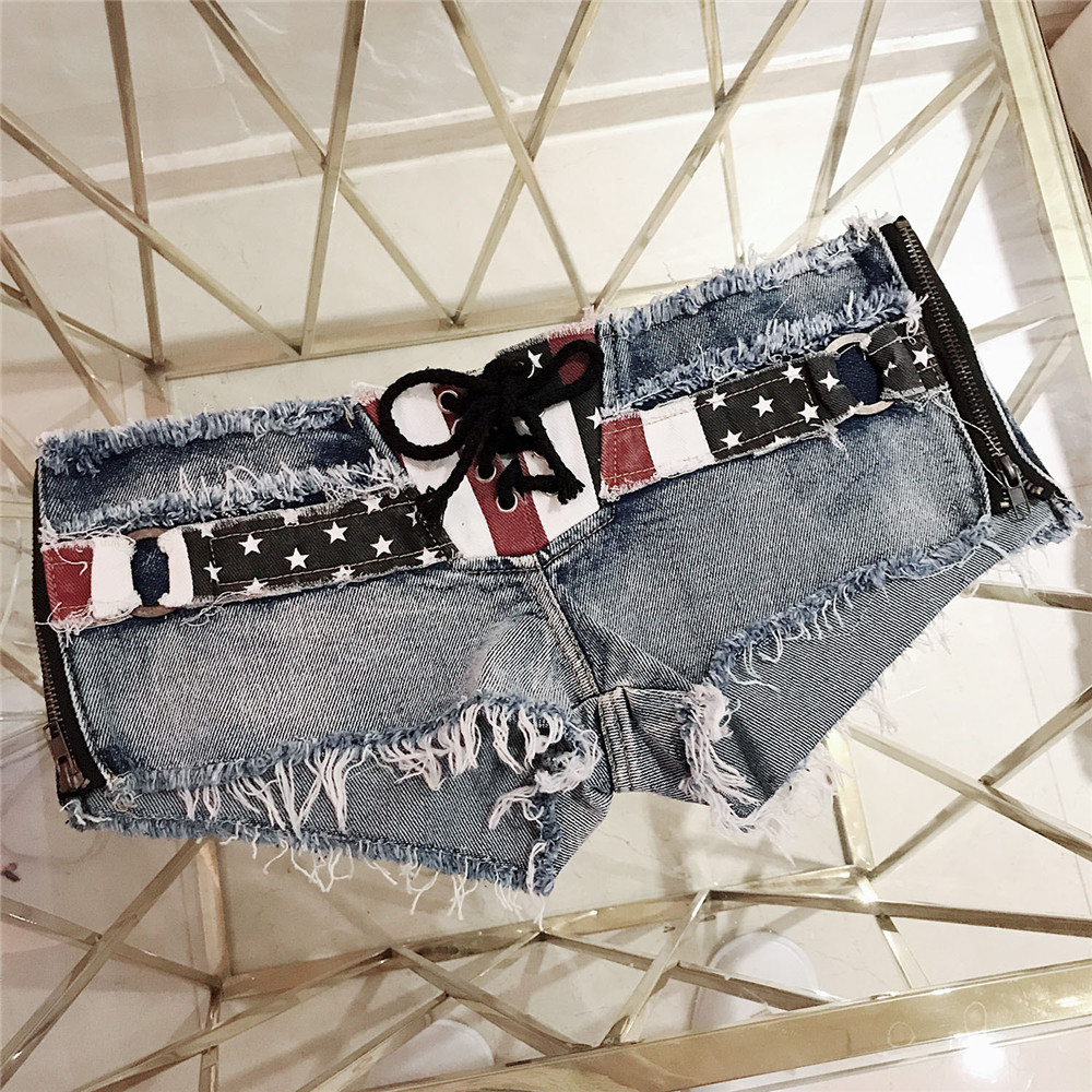 Fashion Printing National Flag Frenulum Side Zipper Locomotive Girl Modis Jeans Woman Befree Shorts Women Jeans Short Feminino