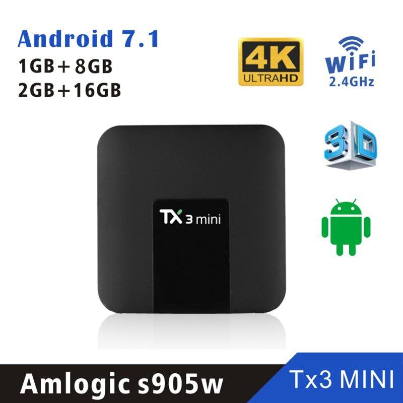 Android 7.1 TANIX TX3 MINI Amlogic S905W Smart TV BOX  1G/2GRAM 8/16g ROM Quad Core DDR3 2.4G WIFI 1080p intelligent Set top BoxAndroid 7.1 TANIX TX3 MINI Amlogic S905W Smart TV BOX  1G/2GRAM 8/16g ROM Quad Core DDR3 2.4G WIFI 1080p intelligent Set top Box