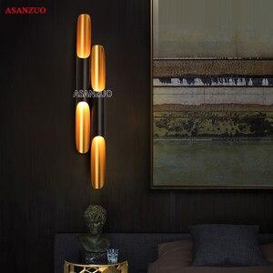 Image 4 - מודרני קיר אור מנורות LED עד למטה אלומיניום צינור כנף 2 אורות שחור זהב נורדי מנורת קיר אור קבועה