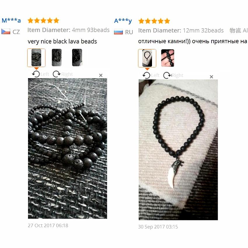 Rrathë Lava vullkanike të Zeza DIY Beads Lava Stone Lava - Bizhuteri të modës - Foto 6