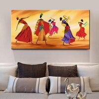 Hecho a mano ilustraciones figuras decorativas la danza africana paisaje abstracto pinturas al óleo sobre lienzo (sin Marcos)