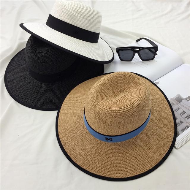 Primavera e verão M letras grandes beirais chapéu de sol retro Inglaterra  jazz chapéus Menina de 529c3e25078