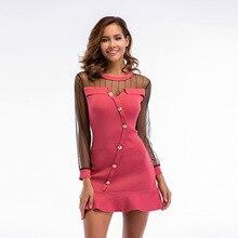 YYFS 2019 New Women elegant dress women summer mesh Cotton Long Sleeve party sexy O-neck Mini A-line Dress Vestidos