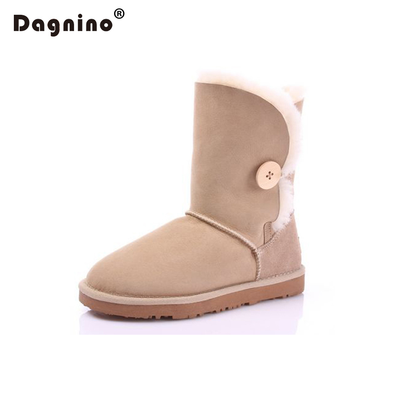 DAGNINO Genuine Sheepskin Winter Warm Snow Boots High Quality Shearling Women's Buttons Natural Fur Ankle Shoes Ug Style Woman