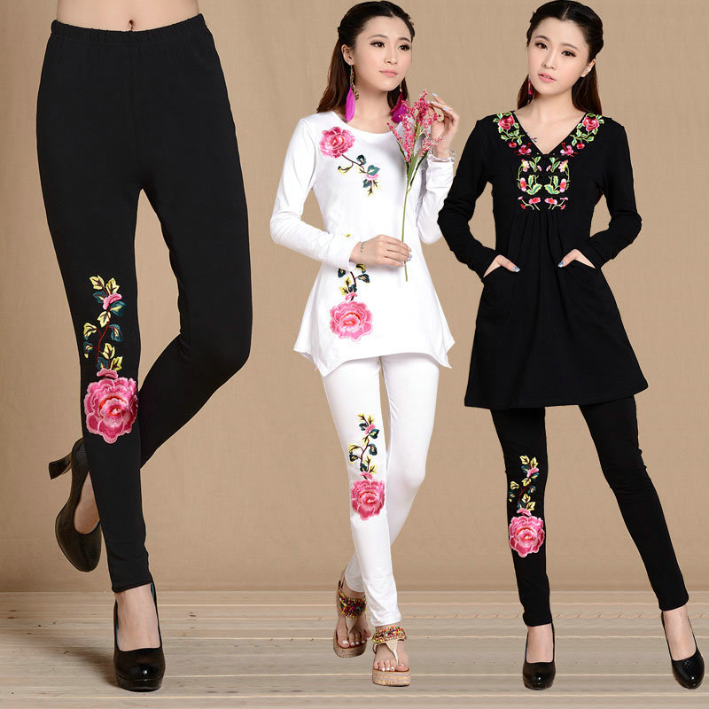 New 2018 Women's Embroidered Flower Peony Pattern Cotton   Leggings   Elastic Lady Pants Cropped Trousers Large Size   Leggings