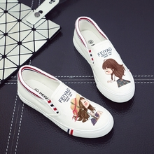 Lazy shoes woman Street pedal canvas shoes girl female student all match white shoe lady style cartoon graffiti flat cloth