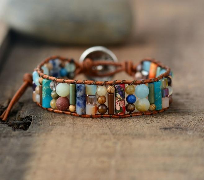Women Boho Bracelets Natural Stone Single Leather Wrap Bracelet Semi Precious Stone Beaded Woven Cuff Bracelet Dropship bracelet