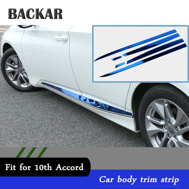 Backar 6pcs Auto Car Styling Stainless Steel Stickers For Honda Accord 2017 2018 Modified Door