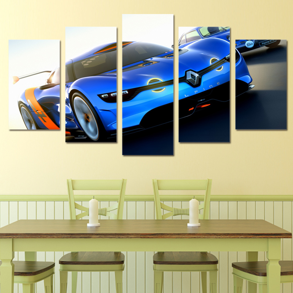 5 Panel Home Decor Renault Alpine Sport Car Canvas Painting Wall Art ...