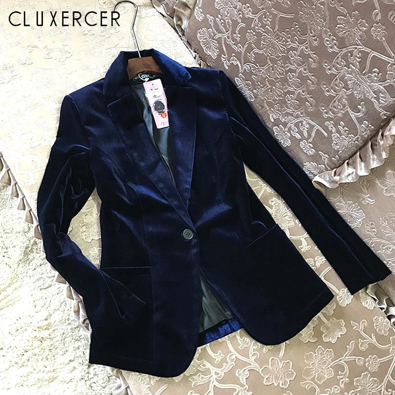 f885300aa4a51 2018 New Velvet Women Blazer Black Blue Elegant Lady Blazers Suits Spring Fall  Plus Size Long