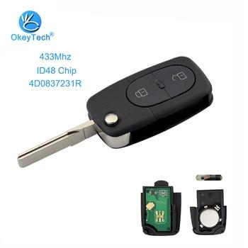 OkeyTech voor Audi Afstandsbediening Sleutel Auto 4D0 837 231 R 4D0837231R 2 Knop Flip Folding 433 Mhz ID48 Chip voor Audi A2 A3 A4 A6 Oude Modellen