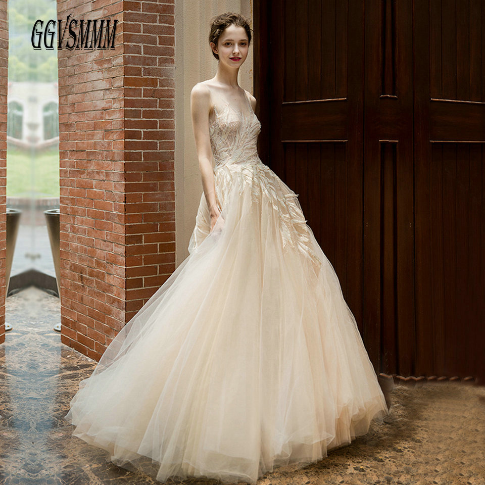 Luxury White Wedding Gowns For Women 2019 Ivory Wedding Dress Party Scoop Lace Appliques Ball Gown Champagne Sexy Bride Dresses-in Wedding Dresses from Weddings & Events    1